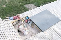Sand pit integrated into decking