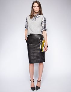 Coco quilted leather skirt