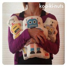 Retro robot pillow cushion bedroom decor boys by kookinuts