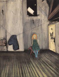 "tsedorla: "" amare-habeo: ""  Léon Spilliaert (Belgian, 1881 - 1946) Alone, 1909 Watercolor, pastel on paper Dhondt-Dhaenens Museum, Deurle, Belgium "" 里昂‧史畢利亞(1881-1946),比利時畫家。 """