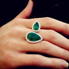 """Mara"" 18K White Gold Emerald Diamond Ring - Plukka - Shop Fine Jewelry Online"