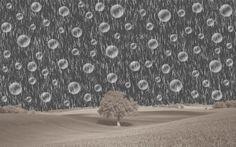 """Esta imagem foi criada com base nos tutoriais (chuva artificial e bolas de sabão) apresentados pelos colegas de formação. A imagem original utilizada foi: """"landscape"""". Nesta imagem foram utilizados recursos, da janela de ferramentas, janela de camadas, janela de cores e janela de histórico. Foram também utilizadas opções da barra de menus: Fle, Edit, Image, Ajustments Efffets e Window."""