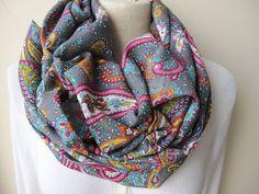 Grey pink paisley scarf  paisley Infinity scarf  by nurdanceyiz, $18.00