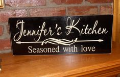 Personalized Kitchen Seasoned with Love Wall Wood Sign Plaque DESIGN YOUR OWN. $30.00, via Etsy.