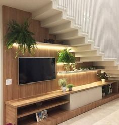 Super Living Room Storage Under Tv Small Spaces 43 Ideas Home Stairs Design, Tv Wall Design, Interior Stairs, Home Interior Design, House Design, Living Room Under Stairs, Space Under Stairs, Under Staircase Ideas, Modern Staircase