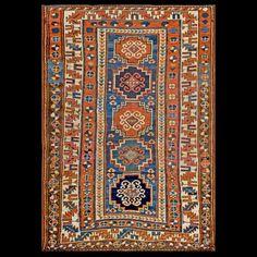 Stock Id: #18665    General Rug Type:       Caucasian    Specific Rug Type:       Caucasian - Kazak    Circa: 1880    Color: Blue    Origin: Caucasus    Width: 4' 3'' ( 129.5 cm )    Length: 6' 2'' ( 188.0 cm )