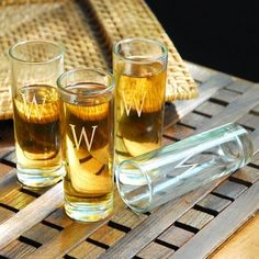 The Cathys Concepts Personalized Island Shooter Glasses - Set of 4 aren't the shot glasses of your college days. Their elegant shape and double-shot. Wedding Shoppe, Shot Glass Set, Thing 1, Personalized Wedding Favors, Gifts For Wedding Party, Party Gifts, Wedding Ideas, Wedding Stuff, Party Favors