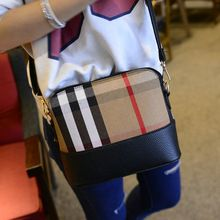 New Arrival Shell Bag 2015 Vintage Classic British Style Plaid Check Handbag Women Messenger Bags Small Leather Purse AA358(China (Mainland))