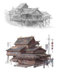 第4期场景网络班同学作品_朱涛--_新浪博客 Japanese Architecture, Architecture Drawings, Futuristic Architecture, Architecture Design, Architecture Office, Building Drawing, Building Art, Building Design, Traditional Japanese House