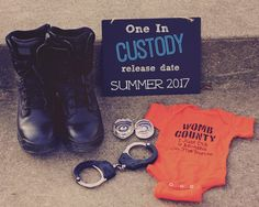 baby announcent, one in custody, police, southern illinois photography, law enforcement baby announc Police Wedding, Fun Baby Announcement, Baby Announcements, Baby Boy Newborn, Baby Baby, Baby Gender, Baby Birth, Baby Onesie, Baby Time