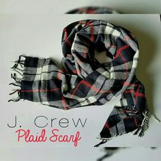 J. Crew Plaid Scarf NWT very soft and stylish, fringes at both ends, red, white and navy blue even though it looks almost black. No trades please! J. Crew Accessories Scarves & Wraps