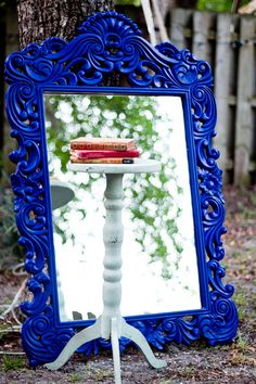 Ornate Cobalt Blue Mirror $250