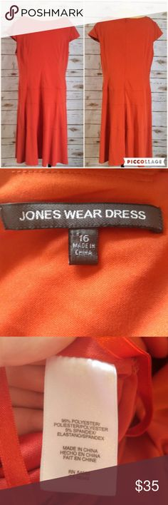 Jones Wear Orange Cap Sleeve Dress Jones Wear Orange Cap Sleeve Dress  Size 16 in good used condition. Please feel free to ask any questions or bundle with other listings in my closet for a custom discount on your order. I ship the same day as long as the order is placed before 11:00 AM Central time. If you would like to be notified about price drops remember to 'like' the item to bookmark it! Thank you for checking out my closet and happy poshing! Jones New York Dresses Midi