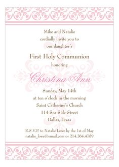 Invitations for a girl's baptism are important documents to find and personalize. Invitations will be kept in scrapbooks and memory boxes for years to come. First Communion Invitations, Christening Invitations, Bar Mitzvah, Beyond Blessed, First Holy Communion, Catholic, Cricut, Party Ideas, Angel