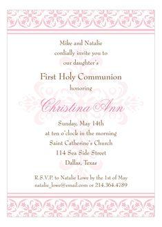 Fancy Pink Cross Invitation