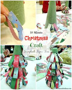 Scrapbook Paper Christmas Tree: Best 10 Minute Craft EVER  Use what you already have in the house.  Perfect for older kids, but use elegant paper or glitter ribbon for a more sophisticated look.