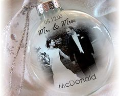 MR & MRS First Christmas Wedding Custom Holiday Glass Photo Ornament Keepsake - Large Over 3 Inches Like Thin Vellum or Etched Glass***MUST MAKE FOR MY TREE!