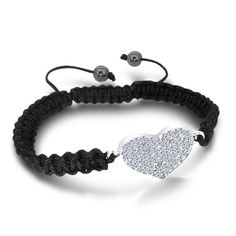 TOPSELLER! Black Laced Shamballa Bracelet with a... $0.01