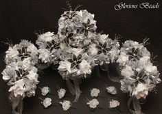 Black and Silver BEADED Flower Quinceanera Bouquet 16 PC Set Beads & Silk  #GloriousBeads