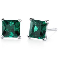 Oravo 14k White Gold Princess-cut Gemstone Stud Earrings (Created Emerald), Women's, Size: Small, Green