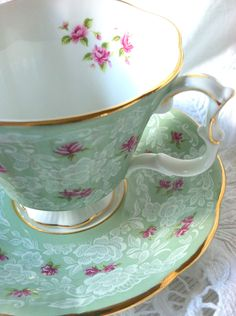 Vintage Royal Albert Tea Cup and Saucer Gainsborough Shape/True Love Pattern - Ca. 1960's