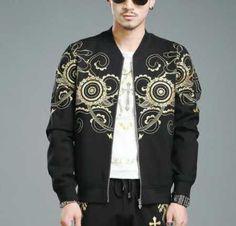 Chinese style geometric bomber jacket for men plus size clothing
