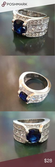 NEW LISTING: 925 blue CZ Ring NWOT 925 stamped Sterling silver ring with white and blue CZs. Size 6. Brand new. Jewelry Rings