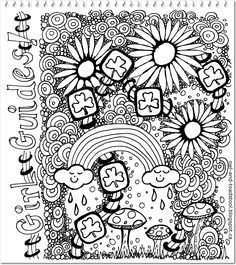 Girl Guide doodle by Lee Ann 2015 at Owl & Toadstool blog #GirlGuides #ThinkingDay Brownies Girl Guides, Brownie Guides, Colouring Pages, Coloring Sheets, Coloring Books, Brownies Activities, Girl Scout Activities, World Thinking Day, Daisy Girl Scouts