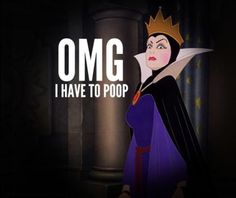 The Evil Queen Has To Poop // Snow White Why do I think things like this are funny? Funny Quotes, Funny Memes, Disney Memes, Funny Disney, Disney Quotes, Disney Villains, Disney Princesses, Haha Funny, Funny Stuff