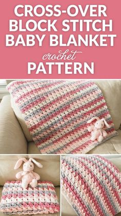 Crochet Baby Blankets This Cross-Over stitch baby blanket crochet pattern is super easy to make, once you get started, you can practically make it with your eyes closed. Crochet Geek, Crochet Cross, Crochet Gifts, Easy Crochet, Crochet Owls, Kids Crochet, Crochet Animals, Afghan Crochet Patterns, Crochet Stitches
