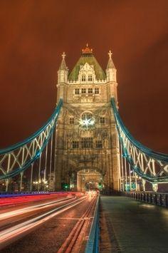Tower Bridge with light trails, London, England