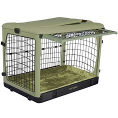 Buy Deluxe Steel Dog Crate with Bolster Pad - Large/Sage. Pet Supplies - Deluxe Steel Dog Crate with Bolster Pad - Large/Sage. Deluxe Steel Dog Crate with Bolster Pad - Large/SageFeatures:Size: 42 L x 28 W x 28 Doors for total access (top, front and 2 Steel Dog Crate, Large Dog Crate, Large Dogs, Cheap Dog Cages, Dog Cages For Sale, Airline Pet Carrier, Dog Carrier, Pet Supplies Plus, Crates