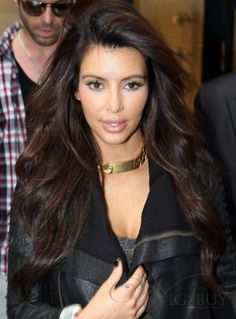 Amazing Elegant Tailored Kim Kardashian Hairstyle Long Loose Wavy Brown Lace Wig 100% Human Hair about 24 Inches: wigsbuy.com