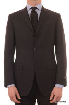 CANALI ITALY Navy Blue Striped Wool Business Suit EU 48 NEW US 38 Slim