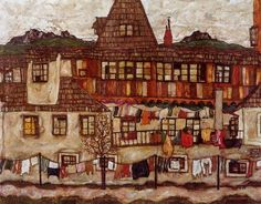 """History In Pictures on Twitter: """"House with Drying Laundry, 1917 Egon Schiele https://t.co/06Tij7HhnG"""""""