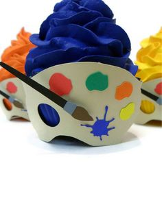 Artist Cupcake Wrapper  Set of 12 by cakeadoodledoo on Etsy, $18.00