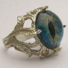 Handmade Sterling Silver Aqua Gothic Dragon Eye Claw by JandSGems