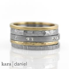 flush-set vintage diamonds, recycled gold, and stainless steel ~ custom stack ring set | Flickr - Photo Sharing!