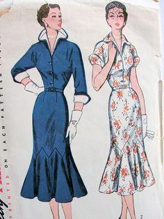 1950s STRIKING SLIM DRESS PATTERN LOVELY TRUMPET SKIRT, DETACHABLE COLLAR, CUFFS SIMPLICITY PATTERNS #8384