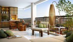 Sacada Varanda de apartamento com mesa de jantar e painel com arandela e plantas. Decor decoração decorado