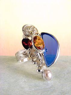gregory pyra piro #bijoux d'auteur #bague en #argent massif et or avec pierres précieuses