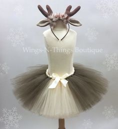 ADULT REINDEER Tutu Skirt Set w/ Antler Headbeand, Women's Christmas Costume, Photo Prop, Rudolph, Deer, Holiday Party, Teen, Adult, Woman by wingsnthings13. Explore more products on http://wingsnthings13.etsy.com