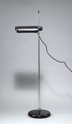 Joe Colombo; Chromed and Enameled Metal 'Alogena' Floor Lamp for O-Luce, 1970.