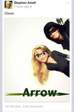 Arrow with Flynn and Rapunzel. Love Felicity