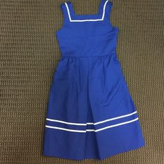 ModCloth Hello Sailor Summer Dress ModCloth Blue and White Hello Sailor, vintage inspired summer dress. Cute to wear alone, or with a button down underneath. No longer fits . Size 0 (fits true to size). Tag was cut for comfort. Excellent condition!! No flaws!! ModCloth Dresses