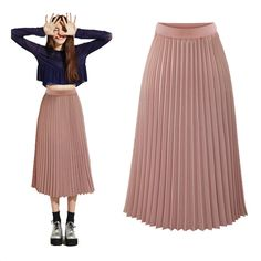 6a3fcf0956 Find More Skirts Information about Spring 2019 Women Long pleated skirt  Metallic Pleated Skirt Midi Skirt