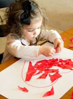 Tissue Paper Heart Craft. Great for Fine Motor Skills!