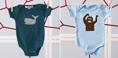 from Not Finding Out, the only baby registry specifically for parents who aren't finding out if it's a girl or boy: Jasper Hearts Wren Whale onesie for girl, Sasquatch onesie for boy