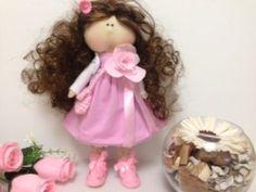 интерьерная кукла тильда рост 25 см. одежда из хлопка 2500 руб