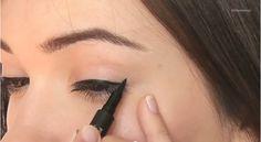 Easy tips on how to apply liquid eyeliner, makeup tutorial for winged eyeliner. | http://makeuptutorials.com/apply-eyeliner/